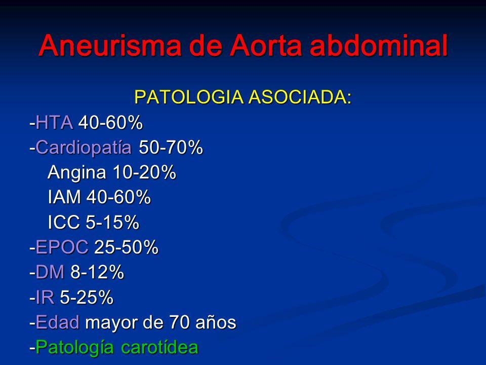 Aneurismas de Aorta abdominal MANEJO ANESTESICO (AAA electivos) MANEJO ANESTESICO (AAA electivos) ALR: (requisitos epidural) -Comprobar coagulación -Respetar intervalo de una hora entre la colocación del catéter y la administración de heparina -Respetar los intervalos de 6 a 10 horas para iniciar la administración de HBPM -Revertir con sulfato de protamina -Control TCA -Evitar asociación de fármacos que alteren la coagulación -Respetar intervalo entre la administración de HBPM y retirada del catéter EL BENEFICIO MAS CLARO PROVIENE DE LA ANALGESIA PO PROLONGADA, AL MENOS 72 H.