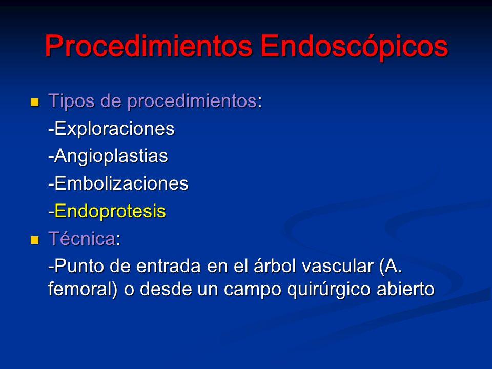 Procedimientos Endoscópicos Tipos de procedimientos: Tipos de procedimientos:-Exploraciones-Angioplastias-Embolizaciones -Endoprotesis Técnica: Técnica: -Punto de entrada en el árbol vascular (A.