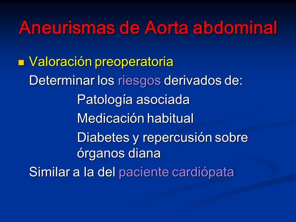 Aneurismas de Aorta abdominal Valoración preoperatoria Valoración preoperatoria Determinar los riesgos derivados de: Patología asociada Medicación habitual Diabetes y repercusión sobre órganos diana Similar a la del paciente cardiópata