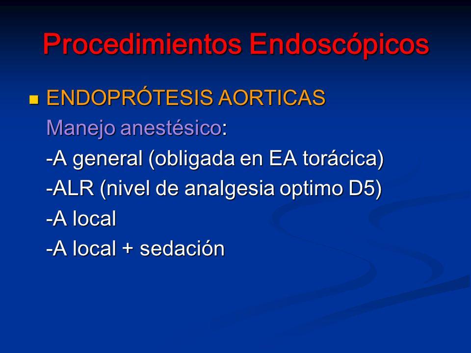 Procedimientos Endoscópicos ENDOPRÓTESIS AORTICAS ENDOPRÓTESIS AORTICAS Manejo anestésico: -A general (obligada en EA torácica) -ALR (nivel de analgesia optimo D5) -A local -A local + sedación