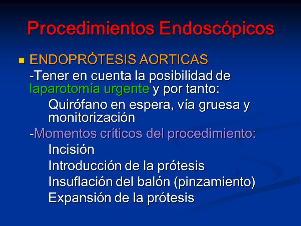 Procedimientos Endoscópicos ENDOPRÓTESIS AORTICAS ENDOPRÓTESIS AORTICAS -Tener en cuenta la posibilidad de laparotomía urgente y por tanto: Quirófano en espera, vía gruesa y monitorización -Momentos críticos del procedimiento: Incisión Introducción de la prótesis Insuflación del balón (pinzamiento) Expansión de la prótesis