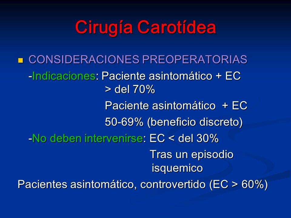 Cirugía Carotídea CONSIDERACIONES PREOPERATORIAS CONSIDERACIONES PREOPERATORIAS -Indicaciones: Paciente asintomático + EC > del 70% Paciente asintomático + EC 50-69% (beneficio discreto) -No deben intervenirse: EC < del 30% Tras un episodio isquemico Tras un episodio isquemico Pacientes asintomático, controvertido (EC > 60%)