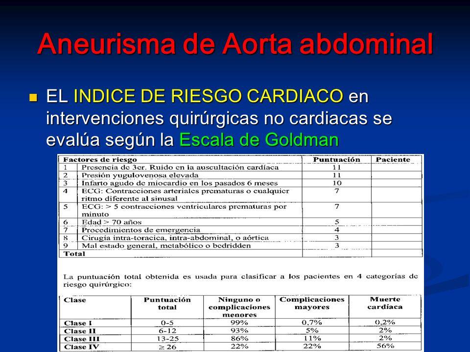 Aneurismas de Aorta abdominal MANEJO ANESTESICO (AAA electivos) MANEJO ANESTESICO (AAA electivos) -Relajación muscular profunda -El CO2 tiende a disminuir hasta el despinzamiento porque: El plano de la anestesia es profundo Del hemicuerpo inferior no hay retorno venoso Del hemicuerpo inferior no hay retorno venoso Disminución progresiva de la temperatura Disminución progresiva de la temperatura Por lo tanto AJUSTAR VENTILACIÓN (la hipo cadmía vasconstriñe los flujos regionales cerebral y coronario)
