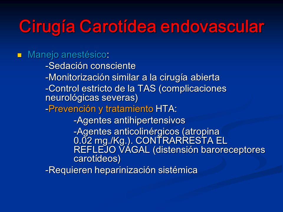 Cirugía Carotídea endovascular Manejo anestésico: Manejo anestésico: -Sedación consciente -Monitorización similar a la cirugía abierta -Control estricto de la TAS (complicaciones neurológicas severas) -Prevención y tratamiento HTA: -Agentes antihipertensivos -Agentes anticolinérgicos (atropina 0.02 mg./Kg.).