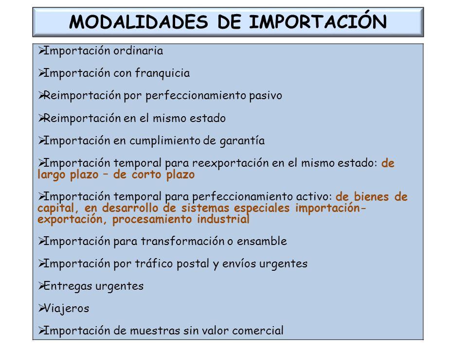 MODALIDADES DE IMPORTACIÓN Importación ordinaria Importación con franquicia Reimportación por perfeccionamiento pasivo Reimportación en el mismo estad