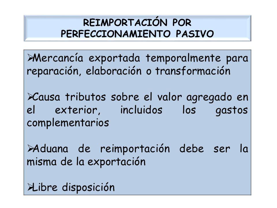 REIMPORTACIÓN POR PERFECCIONAMIENTO PASIVO Mercancía exportada temporalmente para reparación, elaboración o transformación Causa tributos sobre el val