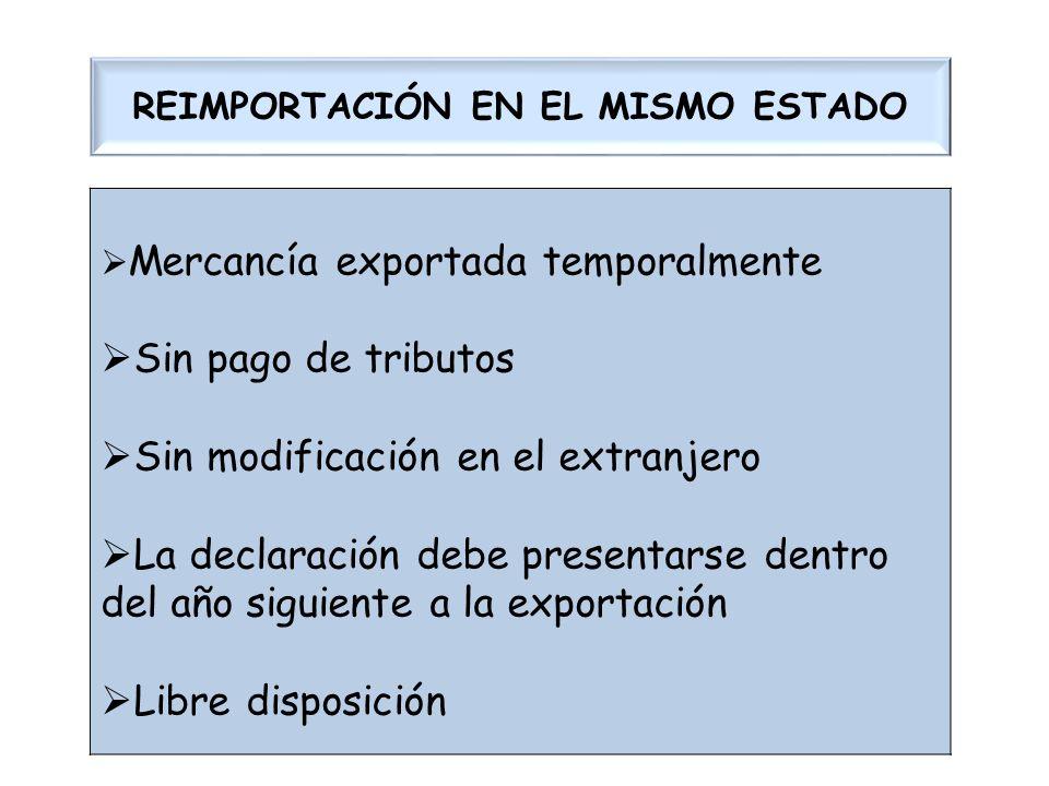 REIMPORTACIÓN EN EL MISMO ESTADO Mercancía exportada temporalmente Sin pago de tributos Sin modificación en el extranjero La declaración debe presenta