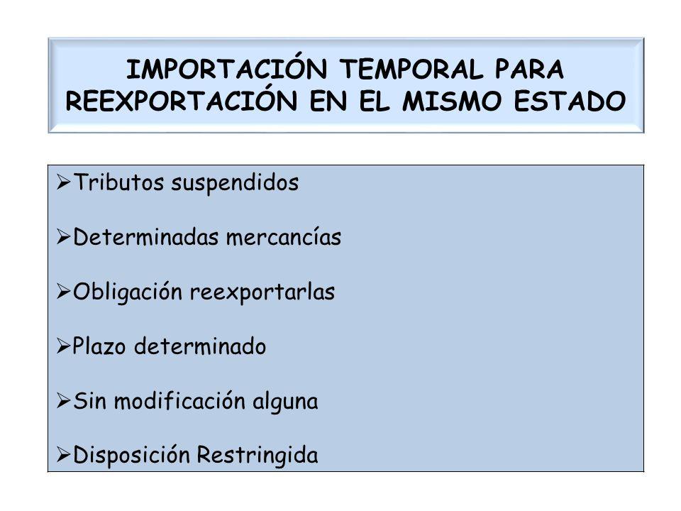 IMPORTACIÓN TEMPORAL PARA REEXPORTACIÓN EN EL MISMO ESTADO Tributos suspendidos Determinadas mercancías Obligación reexportarlas Plazo determinado Sin
