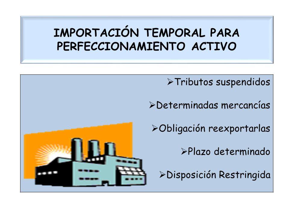 IMPORTACIÓN TEMPORAL PARA PERFECCIONAMIENTO ACTIVO Tributos suspendidos Determinadas mercancías Obligación reexportarlas Plazo determinado Disposición