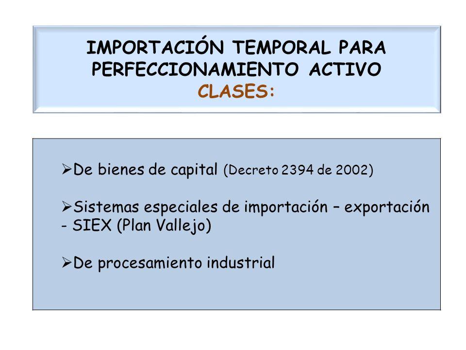 IMPORTACIÓN TEMPORAL PARA PERFECCIONAMIENTO ACTIVO CLASES: De bienes de capital (Decreto 2394 de 2002) Sistemas especiales de importación – exportació