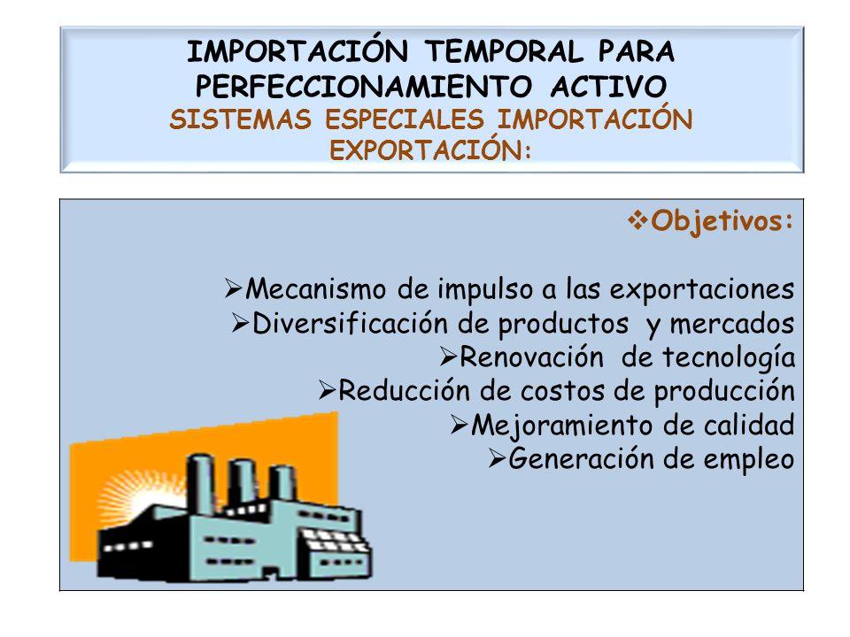 IMPORTACIÓN TEMPORAL PARA PERFECCIONAMIENTO ACTIVO SISTEMAS ESPECIALES IMPORTACIÓN EXPORTACIÓN: Objetivos: Mecanismo de impulso a las exportaciones Di
