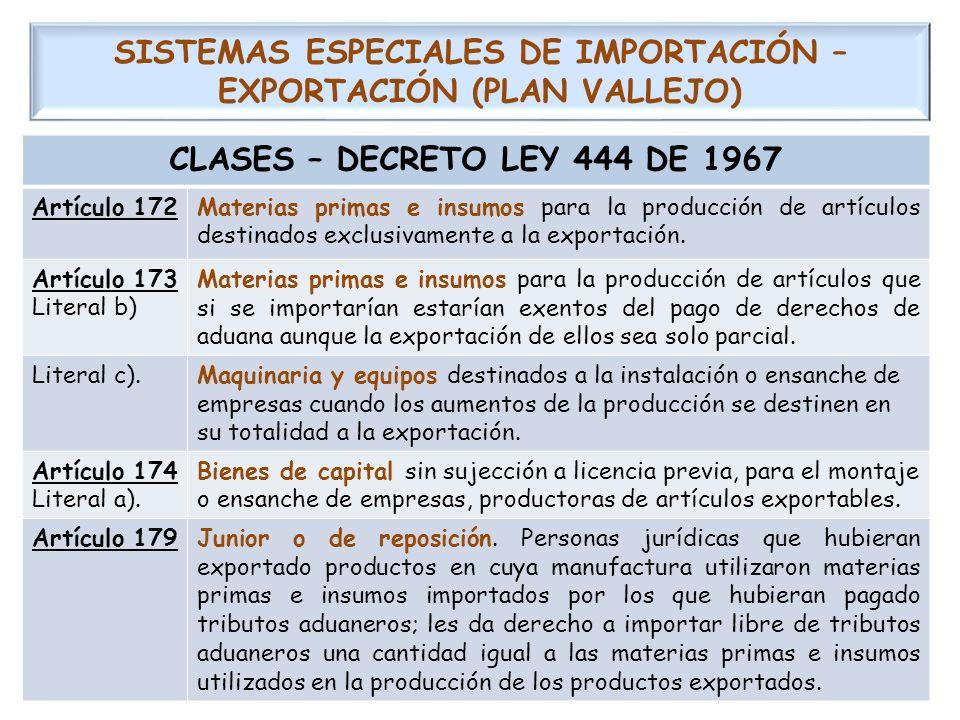 SISTEMAS ESPECIALES DE IMPORTACIÓN – EXPORTACIÓN (PLAN VALLEJO) CLASES – DECRETO LEY 444 DE 1967 Artículo 172Materias primas e insumos para la producc