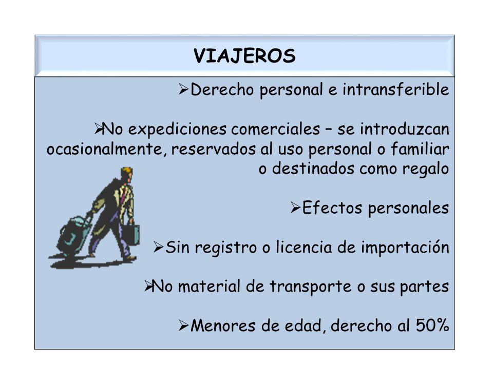 VIAJEROS Derecho personal e intransferible No expediciones comerciales – se introduzcan ocasionalmente, reservados al uso personal o familiar o destin