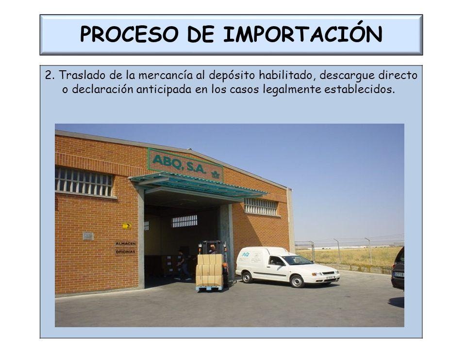 PROCESO DE IMPORTACIÓN 2. Traslado de la mercancía al depósito habilitado, descargue directo o declaración anticipada en los casos legalmente establec