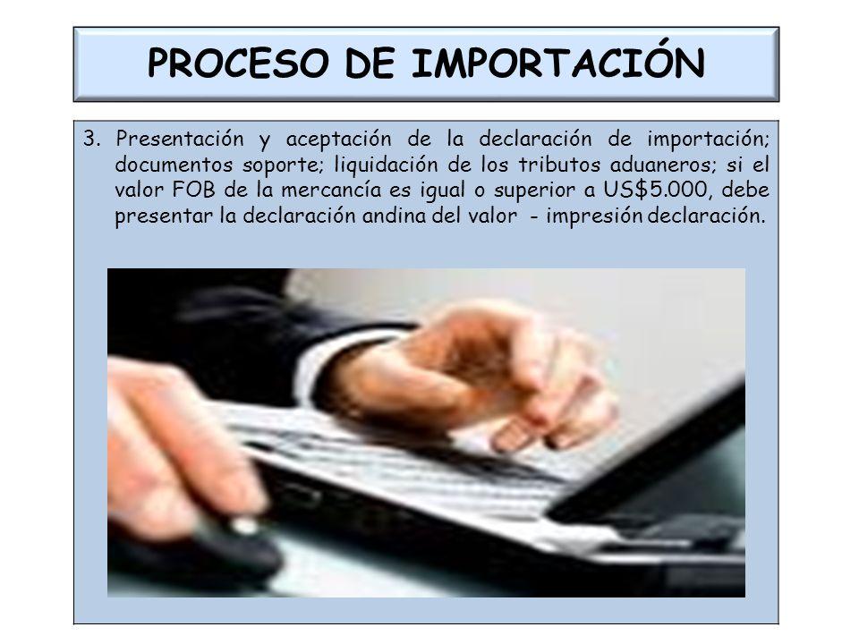 PROCESO DE IMPORTACIÓN 3. Presentación y aceptación de la declaración de importación; documentos soporte; liquidación de los tributos aduaneros; si el