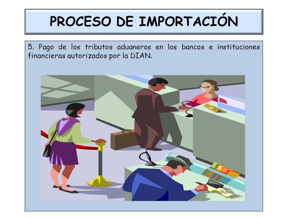 PROCESO DE IMPORTACIÓN 5. Pago de los tributos aduaneros en los bancos e instituciones financieras autorizados por la DIAN.