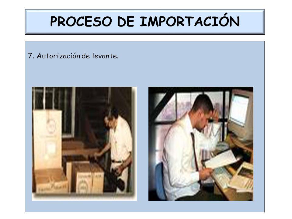 PROCESO DE IMPORTACIÓN 7. Autorización de levante.