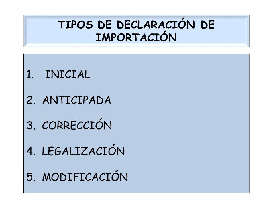 TIPOS DE DECLARACIÓN DE IMPORTACIÓN 1. INICIAL 2.ANTICIPADA 3.CORRECCIÓN 4.LEGALIZACIÓN 5.MODIFICACIÓN