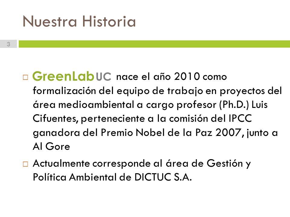 Nuestra Historia 3 nace el año 2010 como formalización del equipo de trabajo en proyectos del área medioambiental a cargo profesor (Ph.D.) Luis Cifuentes, perteneciente a la comisión del IPCC ganadora del Premio Nobel de la Paz 2007, junto a Al Gore Actualmente corresponde al área de Gestión y Política Ambiental de DICTUC S.A.