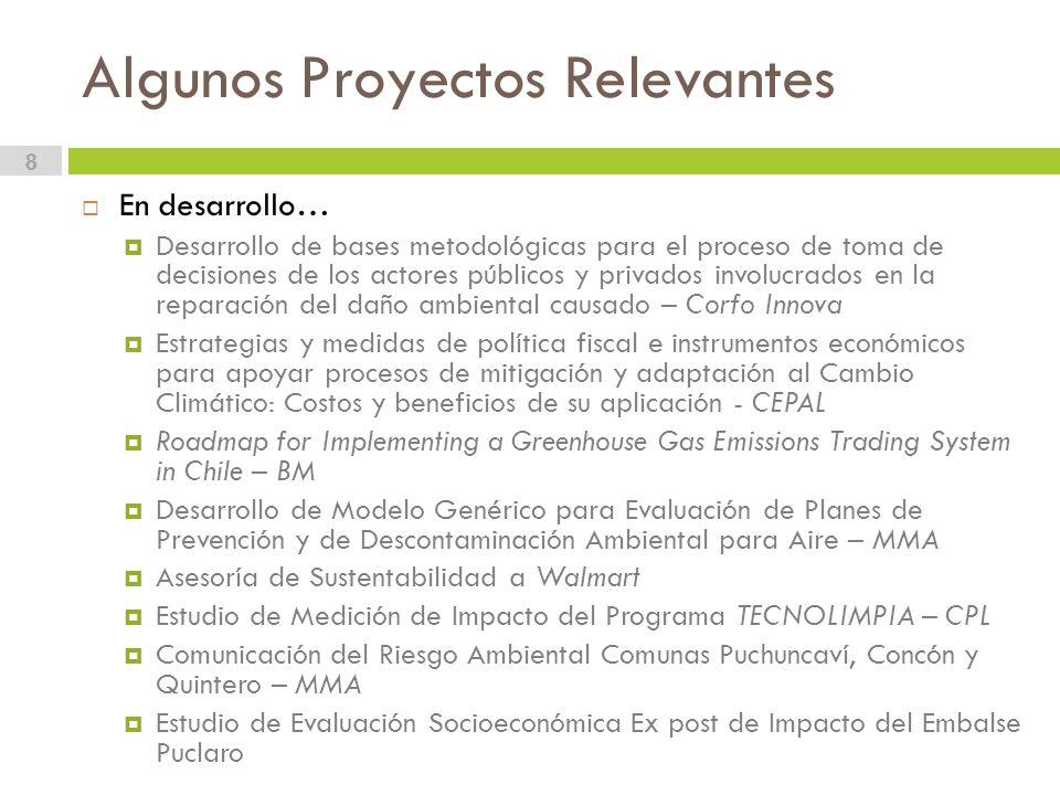 Algunos Proyectos Relevantes 8 En desarrollo… Desarrollo de bases metodológicas para el proceso de toma de decisiones de los actores públicos y privados involucrados en la reparación del daño ambiental causado – Corfo Innova Estrategias y medidas de política fiscal e instrumentos económicos para apoyar procesos de mitigación y adaptación al Cambio Climático: Costos y beneficios de su aplicación - CEPAL Roadmap for Implementing a Greenhouse Gas Emissions Trading System in Chile – BM Desarrollo de Modelo Genérico para Evaluación de Planes de Prevención y de Descontaminación Ambiental para Aire – MMA Asesoría de Sustentabilidad a Walmart Estudio de Medición de Impacto del Programa TECNOLIMPIA – CPL Comunicación del Riesgo Ambiental Comunas Puchuncaví, Concón y Quintero – MMA Estudio de Evaluación Socioeconómica Ex post de Impacto del Embalse Puclaro