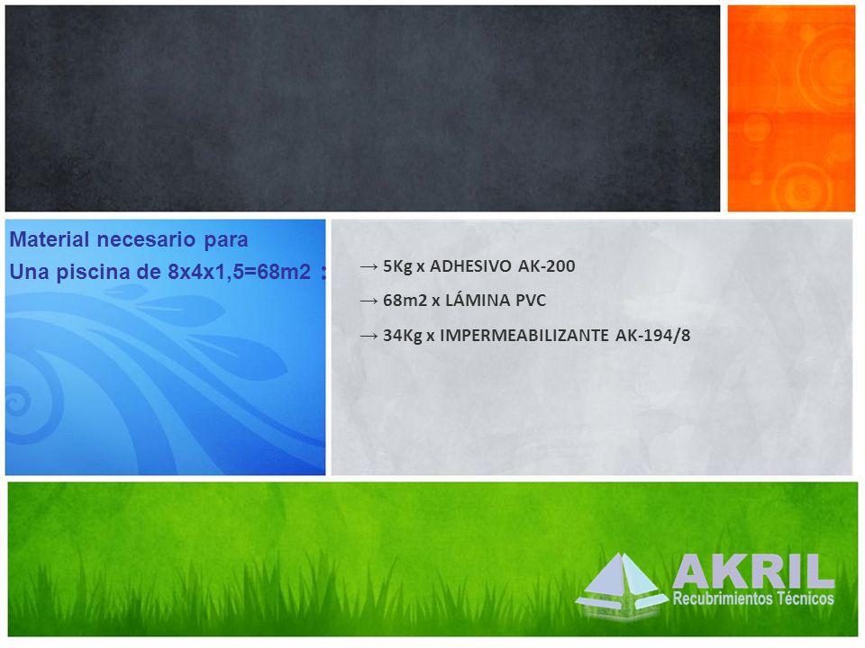 Material necesario para Una piscina de 8x4x1,5=68m2 : 5Kg x ADHESIVO AK-200 68m2 x LÁMINA PVC 34Kg x IMPERMEABILIZANTE AK-194/8