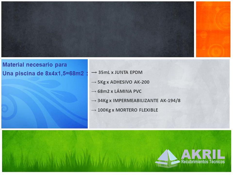 Material necesario para Una piscina de 8x4x1,5=68m2 : 35mL x JUNTA EPDM 5Kg x ADHESIVO AK-200 68m2 x LÁMINA PVC 34Kg x IMPERMEABILIZANTE AK-194/8 100K