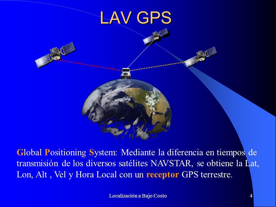 Localización a Bajo Costo4 LAV GPS Global Positioning System: Mediante la diferencia en tiempos de transmisión de los diversos satélites NAVSTAR, se obtiene la Lat, Lon, Alt, Vel y Hora Local con un receptor GPS terrestre.