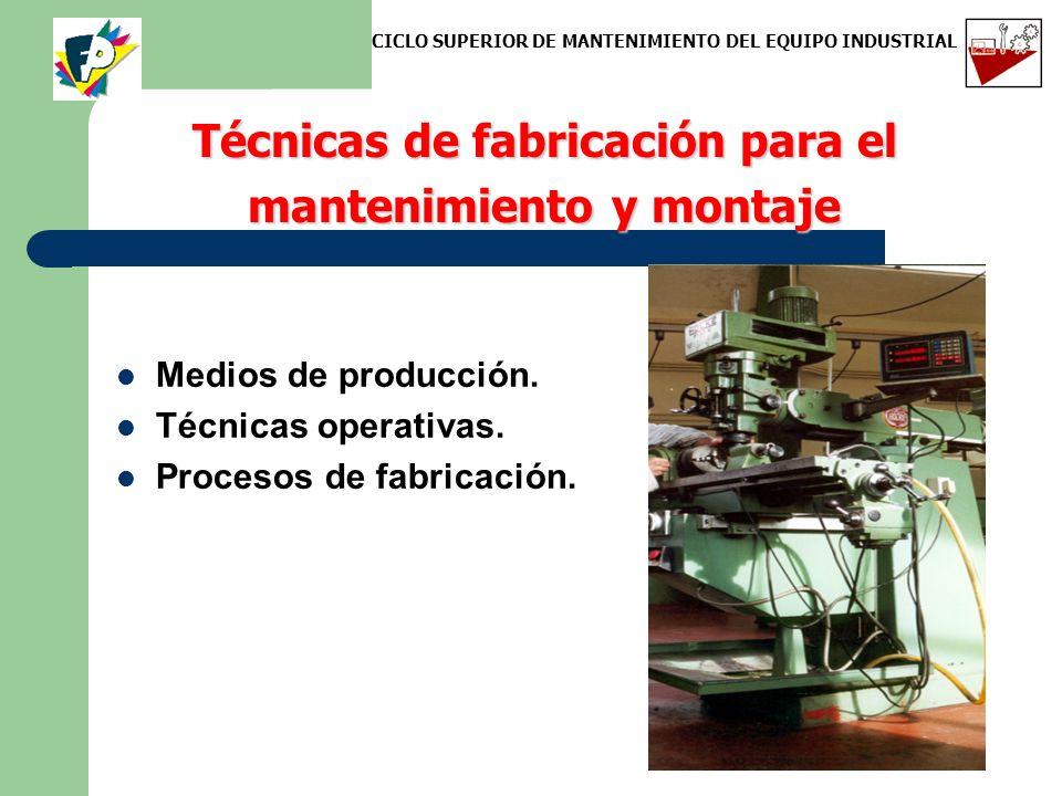 Técnicas de fabricación para el mantenimiento y montaje Medios de producción. Técnicas operativas. Procesos de fabricación. CICLO SUPERIOR DE MANTENIM
