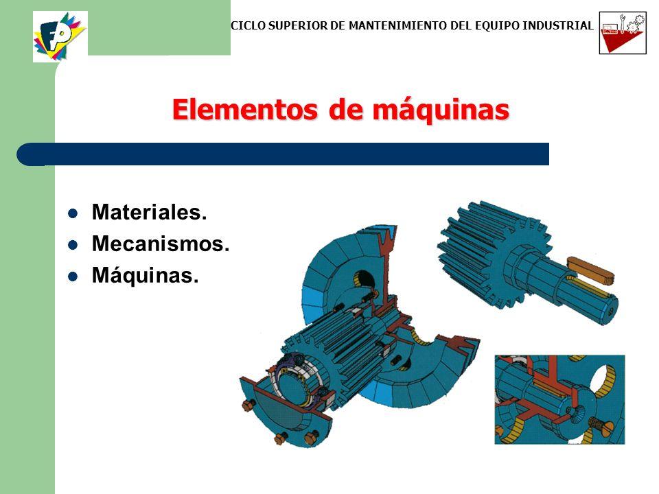 Elementos de máquinas Materiales. Mecanismos. Máquinas. CICLO SUPERIOR DE MANTENIMIENTO DEL EQUIPO INDUSTRIAL