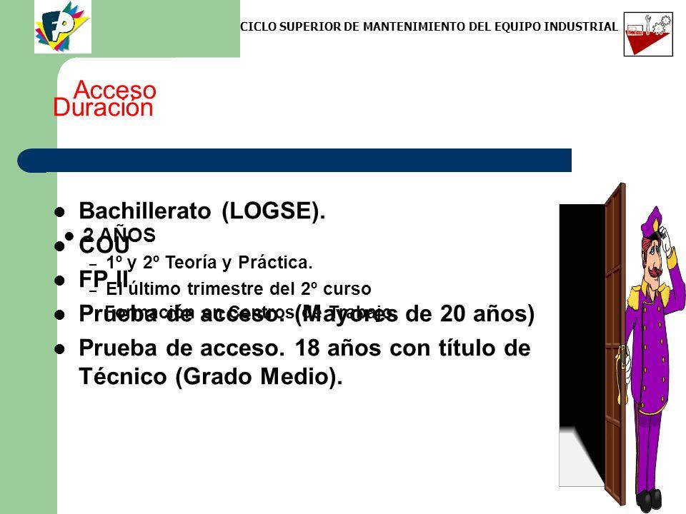 Acceso Bachillerato (LOGSE). COU FP II Prueba de acceso. (Mayores de 20 años) Prueba de acceso. 18 años con título de Técnico (Grado Medio). Duración