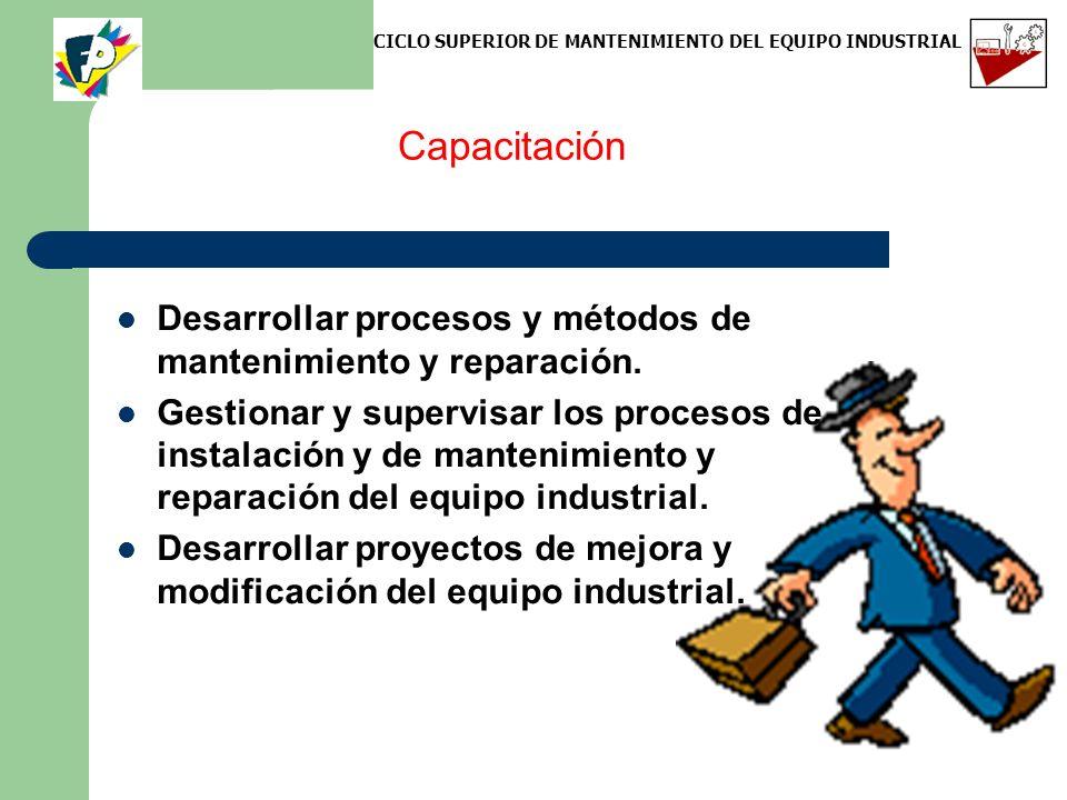 Capacitación Desarrollar procesos y métodos de mantenimiento y reparación. Gestionar y supervisar los procesos de instalación y de mantenimiento y rep