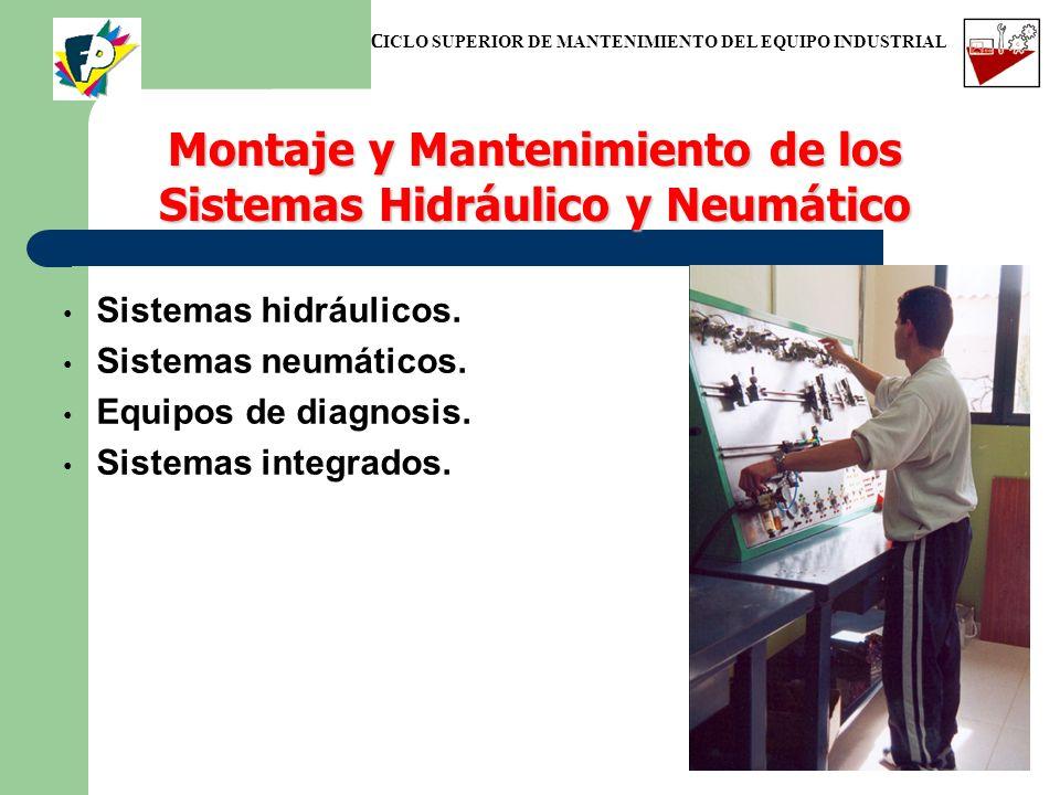 Sistemas hidráulicos. Sistemas neumáticos. Equipos de diagnosis. Sistemas integrados. Montaje y Mantenimiento de los Sistemas Hidráulico y Neumático C