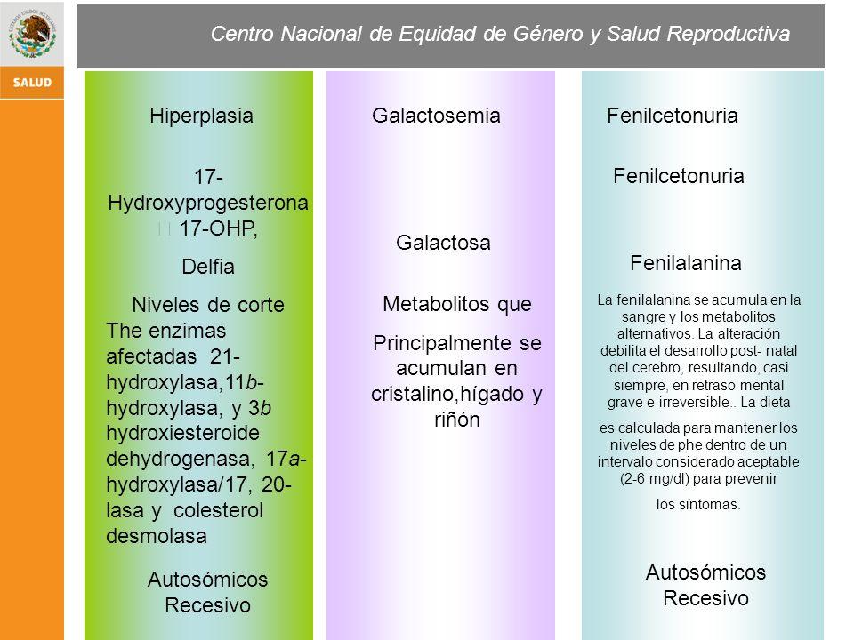 Centro Nacional de Equidad de Género y Salud Reproductiva GalactosemiaHiperplasia Fenilcetonuria Galactosa 17- Hydroxyprogesterona 17-OHP, Delfia Nive