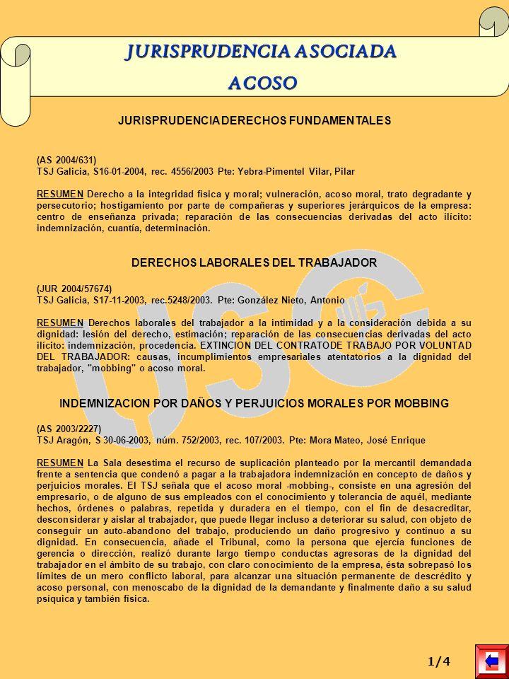 JURISPRUDENCIA DERECHOS FUNDAMENTALES (AS 2004/631) TSJ Galicia, S16-01-2004, rec. 4556/2003 Pte: Yebra-Pimentel Vilar, Pilar RESUMEN Derecho a la int