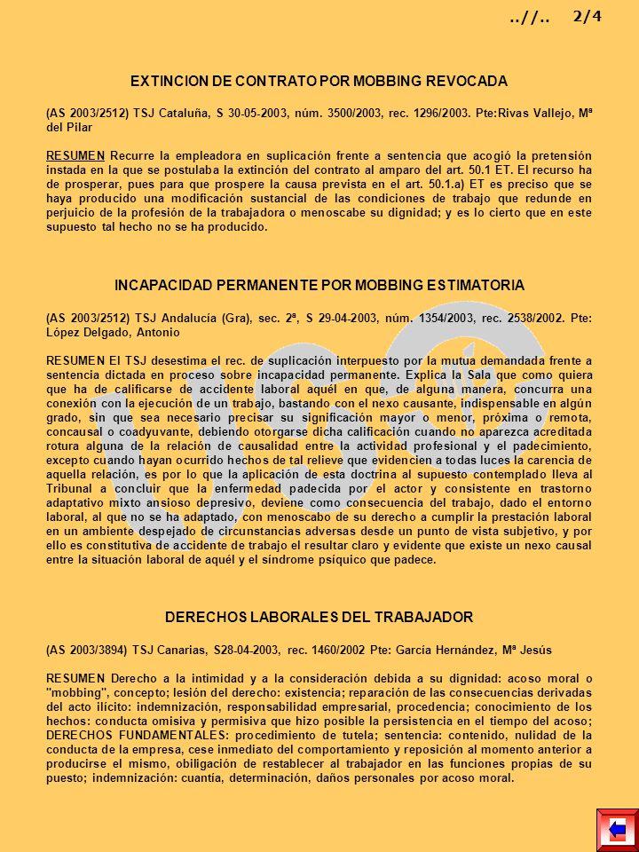 EXTINCION DE CONTRATO POR MOBBING REVOCADA (AS 2003/2512) TSJ Cataluña, S 30-05-2003, núm. 3500/2003, rec. 1296/2003. Pte:Rivas Vallejo, Mª del Pilar