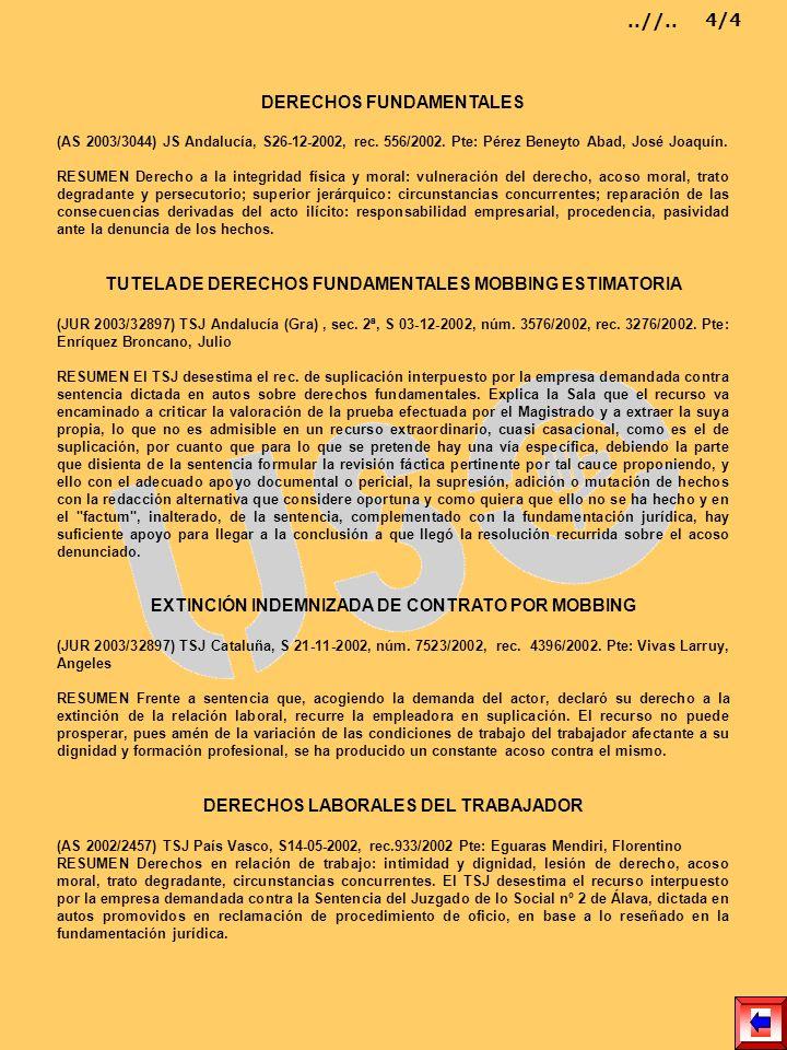 DERECHOS FUNDAMENTALES (AS 2003/3044) JS Andalucía, S26-12-2002, rec. 556/2002. Pte: Pérez Beneyto Abad, José Joaquín. RESUMEN Derecho a la integridad