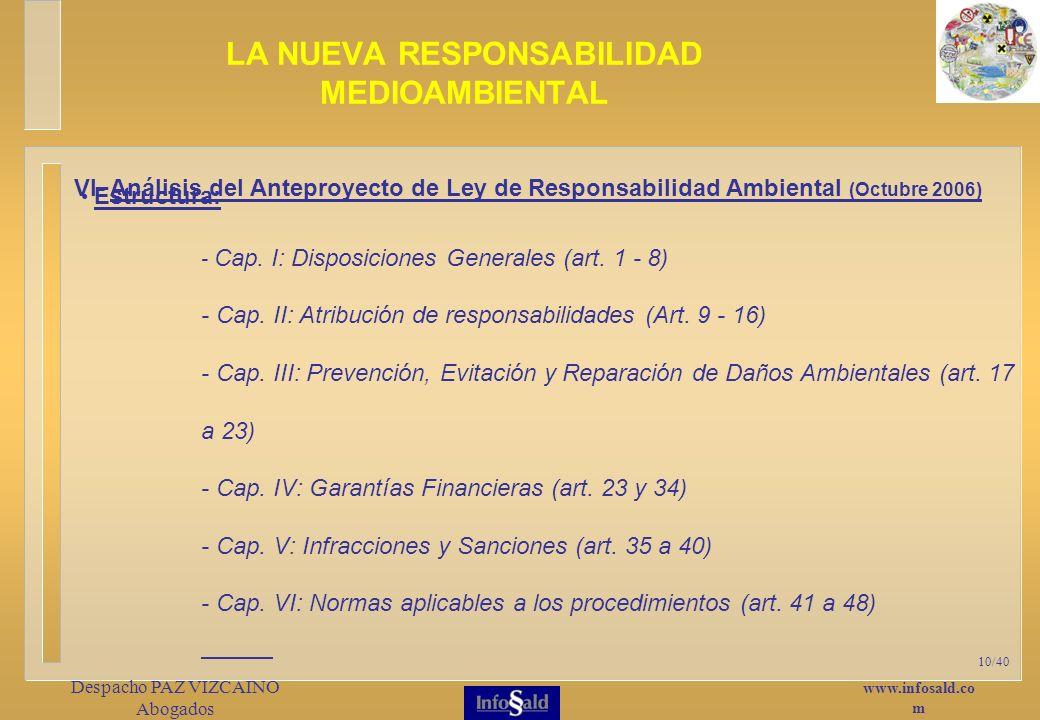 www.infosald.co m Despacho PAZ VIZCAINO Abogados 10/40 Estructura: - Cap.