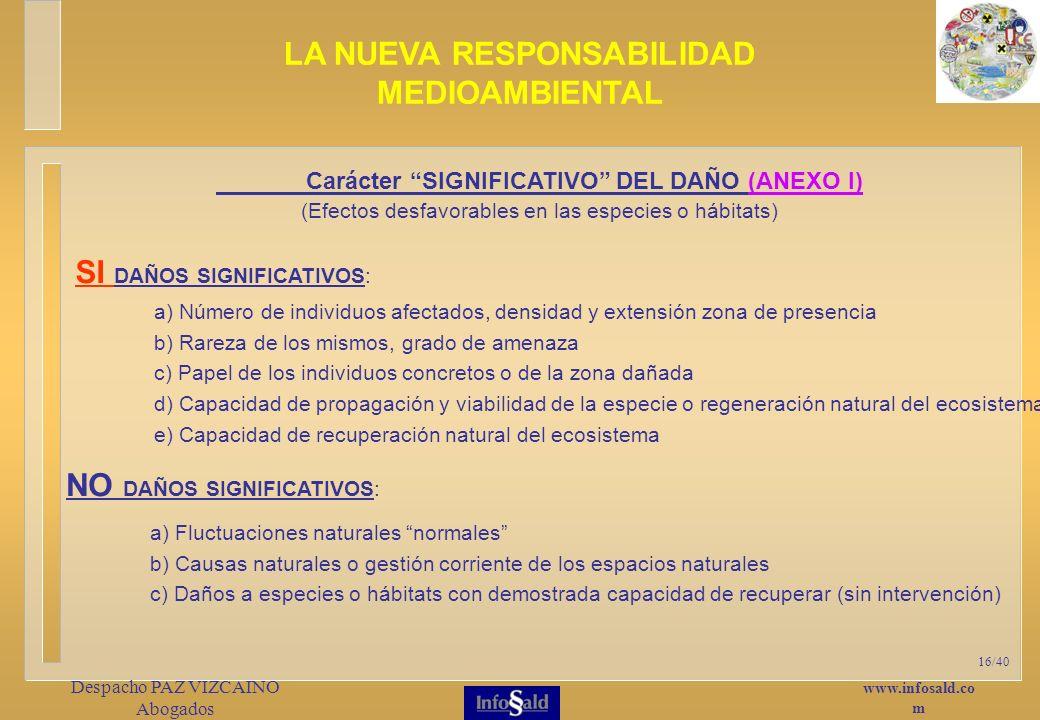 www.infosald.co m Despacho PAZ VIZCAINO Abogados 16/40 Carácter SIGNIFICATIVO DEL DAÑO (ANEXO I) (Efectos desfavorables en las especies o hábitats) LA NUEVA RESPONSABILIDAD MEDIOAMBIENTAL SI DAÑOS SIGNIFICATIVOS: NO DAÑOS SIGNIFICATIVOS: a) Número de individuos afectados, densidad y extensión zona de presencia b) Rareza de los mismos, grado de amenaza c) Papel de los individuos concretos o de la zona dañada d) Capacidad de propagación y viabilidad de la especie o regeneración natural del ecosistema e) Capacidad de recuperación natural del ecosistema a) Fluctuaciones naturales normales b) Causas naturales o gestión corriente de los espacios naturales c) Daños a especies o hábitats con demostrada capacidad de recuperar (sin intervención)