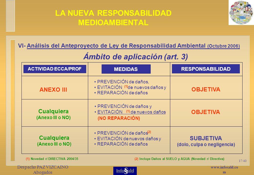 www.infosald.co m Despacho PAZ VIZCAINO Abogados 17/40 Ámbito de aplicación (art.