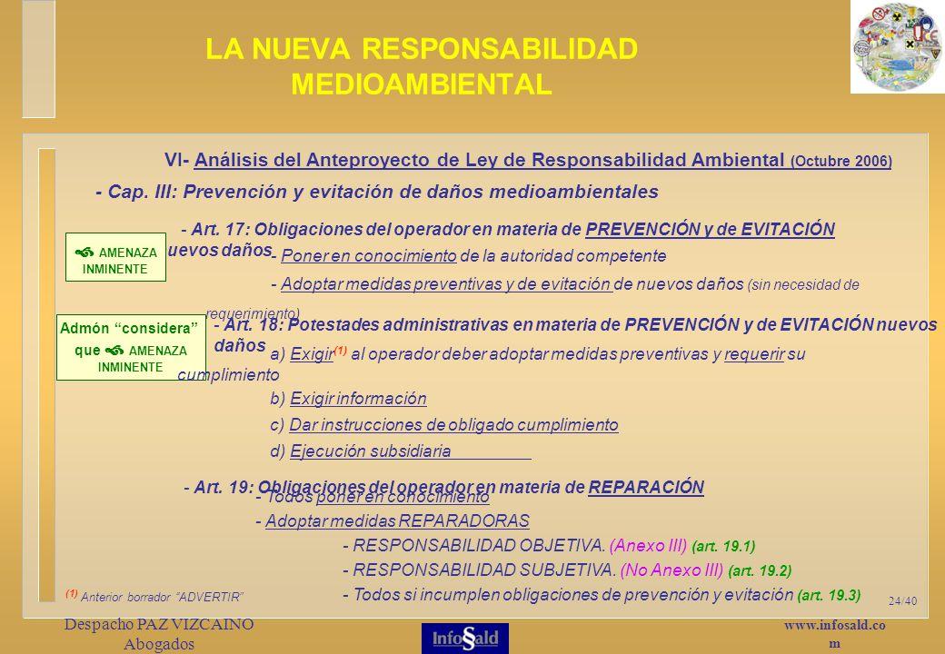 www.infosald.co m Despacho PAZ VIZCAINO Abogados 24/40 LA NUEVA RESPONSABILIDAD MEDIOAMBIENTAL - Art.