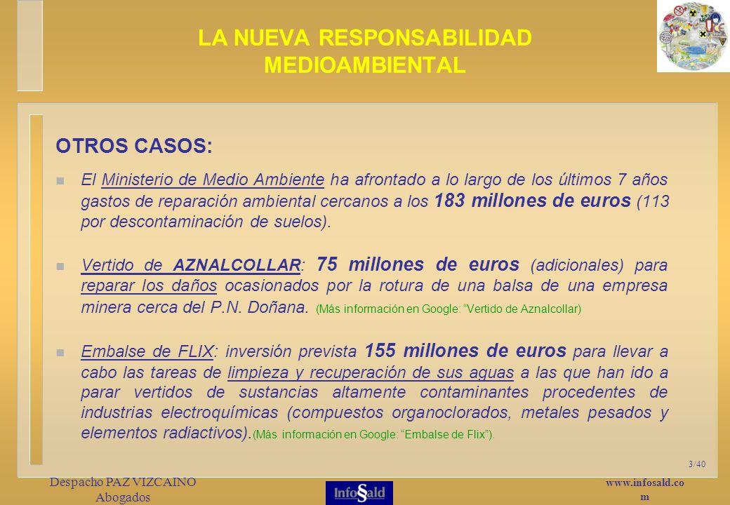 www.infosald.co m Despacho PAZ VIZCAINO Abogados 3/40 OTROS CASOS: El Ministerio de Medio Ambiente ha afrontado a lo largo de los últimos 7 años gastos de reparación ambiental cercanos a los 183 millones de euros (113 por descontaminación de suelos).