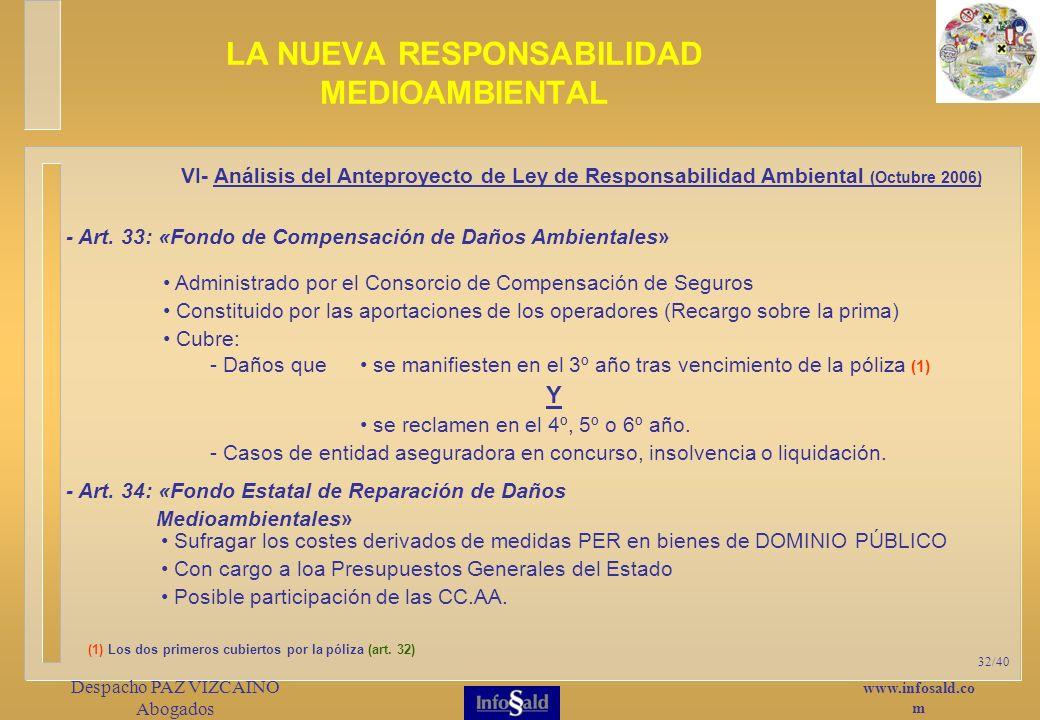www.infosald.co m Despacho PAZ VIZCAINO Abogados 32/40 Administrado por el Consorcio de Compensación de Seguros Constituido por las aportaciones de los operadores (Recargo sobre la prima) Cubre: LA NUEVA RESPONSABILIDAD MEDIOAMBIENTAL VI- Análisis del Anteproyecto de Ley de Responsabilidad Ambiental (Octubre 2006) - Art.
