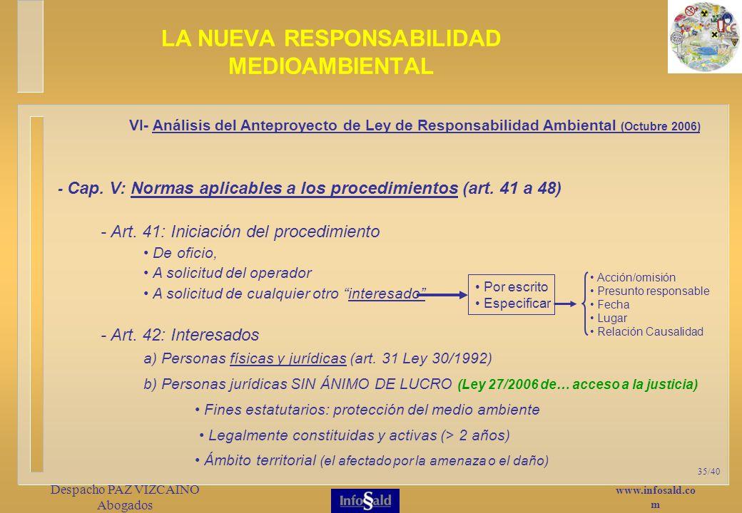 www.infosald.co m Despacho PAZ VIZCAINO Abogados 35/40 - Cap.