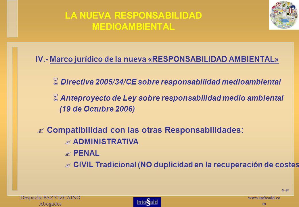 www.infosald.co m Despacho PAZ VIZCAINO Abogados 8/40 IV.- Marco jurídico de la nueva «RESPONSABILIDAD AMBIENTAL» LA NUEVA RESPONSABILIDAD MEDIOAMBIENTAL Compatibilidad con las otras Responsabilidades: ADMINISTRATIVA PENAL CIVIL Tradicional (NO duplicidad en la recuperación de costes) Anteproyecto de Ley sobre responsabilidad medio ambiental (19 de Octubre 2006) Directiva 2005/34/CE sobre responsabilidad medioambiental