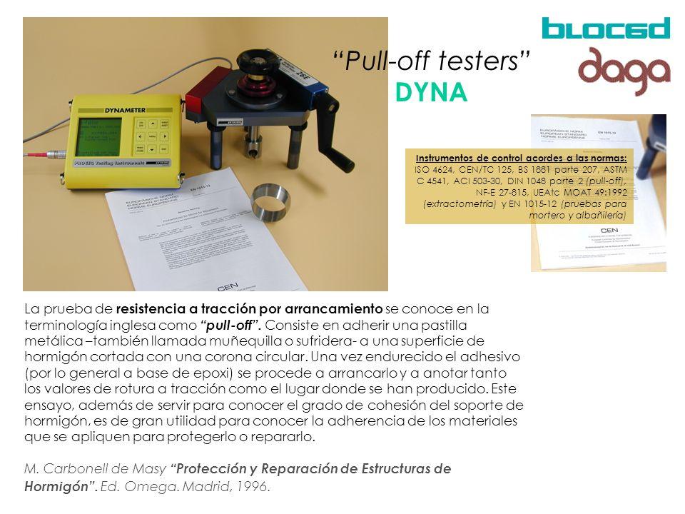 La prueba de resistencia a tracción por arrancamiento se conoce en la terminología inglesa como pull-off. Consiste en adherir una pastilla metálica –t