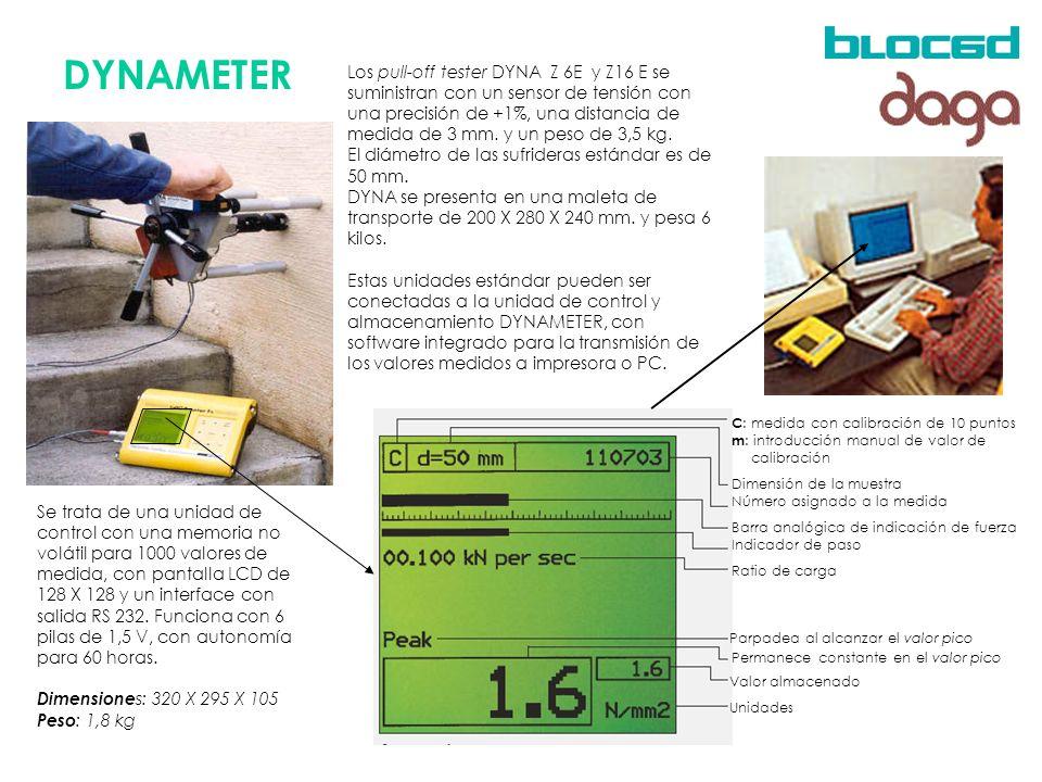 DYNAMETER C : medida con calibración de 10 puntos m : introducción manual de valor de calibración Dimensión de la muestra Número asignado a la medida