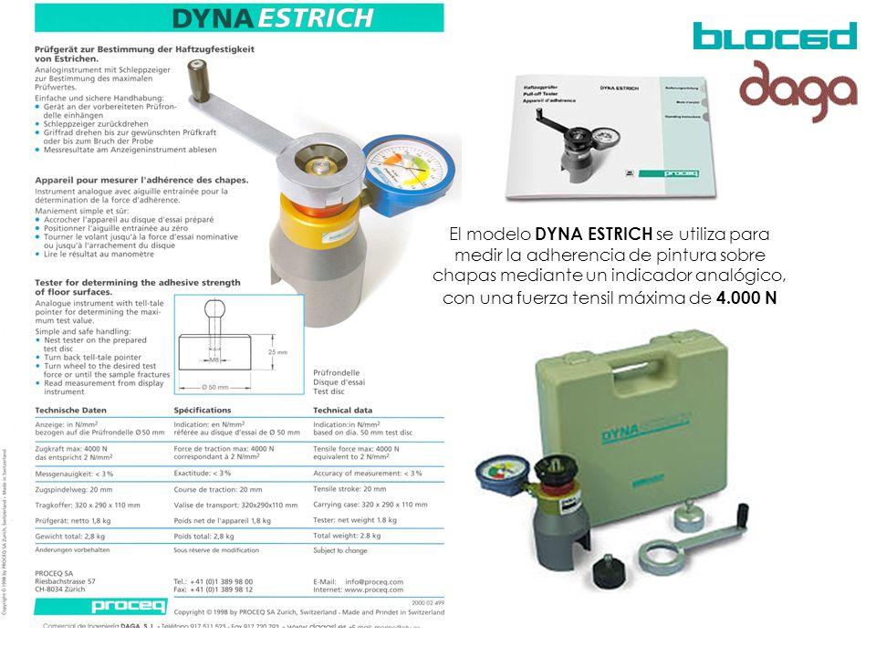 El modelo DYNA ESTRICH se utiliza para medir la adherencia de pintura sobre chapas mediante un indicador analógico, con una fuerza tensil máxima de 4.