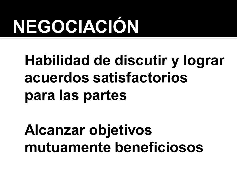 NEGOCIACIÓN Habilidad de discutir y lograr acuerdos satisfactorios para las partes Alcanzar objetivos mutuamente beneficiosos
