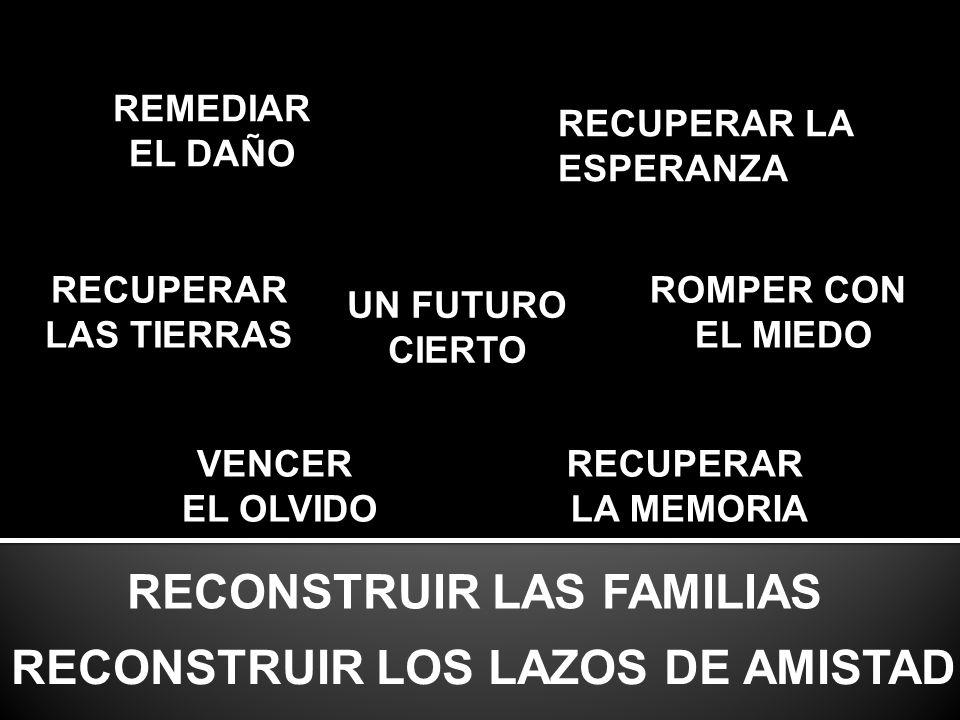 UN FUTURO CIERTO RECONSTRUIR LAS FAMILIAS RECONSTRUIR LOS LAZOS DE AMISTAD ROMPER CON EL MIEDO VENCER EL OLVIDO RECUPERAR LA MEMORIA RECUPERAR LAS TIERRAS RECUPERAR LA ESPERANZA REMEDIAR EL DAÑO
