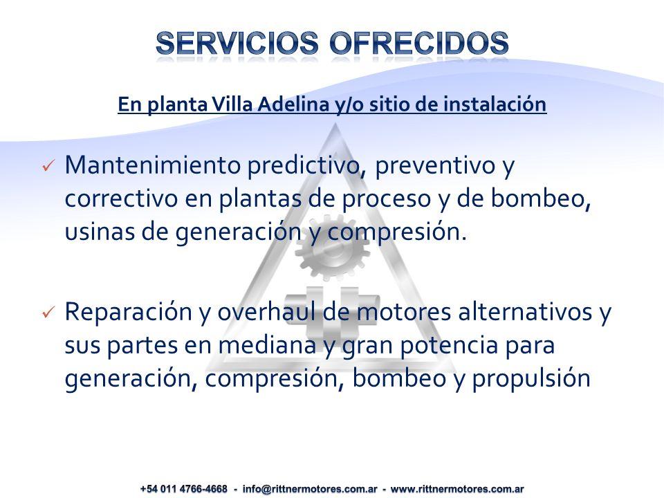 Mantenimiento predictivo, preventivo y correctivo en plantas de proceso y de bombeo, usinas de generación y compresión.